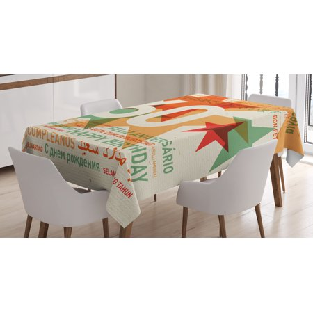 60th Birthday Decorations Tablecloth, World Cities Birthday Party with Abstract Stars, Rectangular Table Cover for Dining Room Kitchen, 60 X 84 Inches, Green Vermilion and White, by - Star Table Decorations
