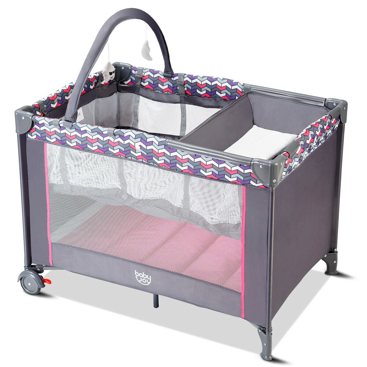 Babyjoy Folding Travel Baby Crib Playpen Infant Bassinet Bed Changing Table w Baby Toys by Costway