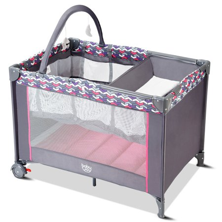 Babyjoy Folding Travel Baby Crib Playpen Infant Bassinet Bed Changing Table w/Baby Toys