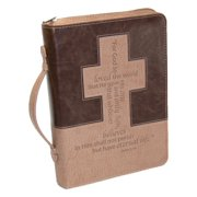 Christian Art Gifts  Faux Leather Two-Tone Bible Cover - Cross & Passage