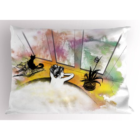 Modern Pillow Sham Girl with Cat Taking Bath Spa Aroma Theraphy Relaxing Peaceful Massage Illustration, Decorative Standard Size Printed Pillowcase, 26 X 20 Inches, Multicolor, by