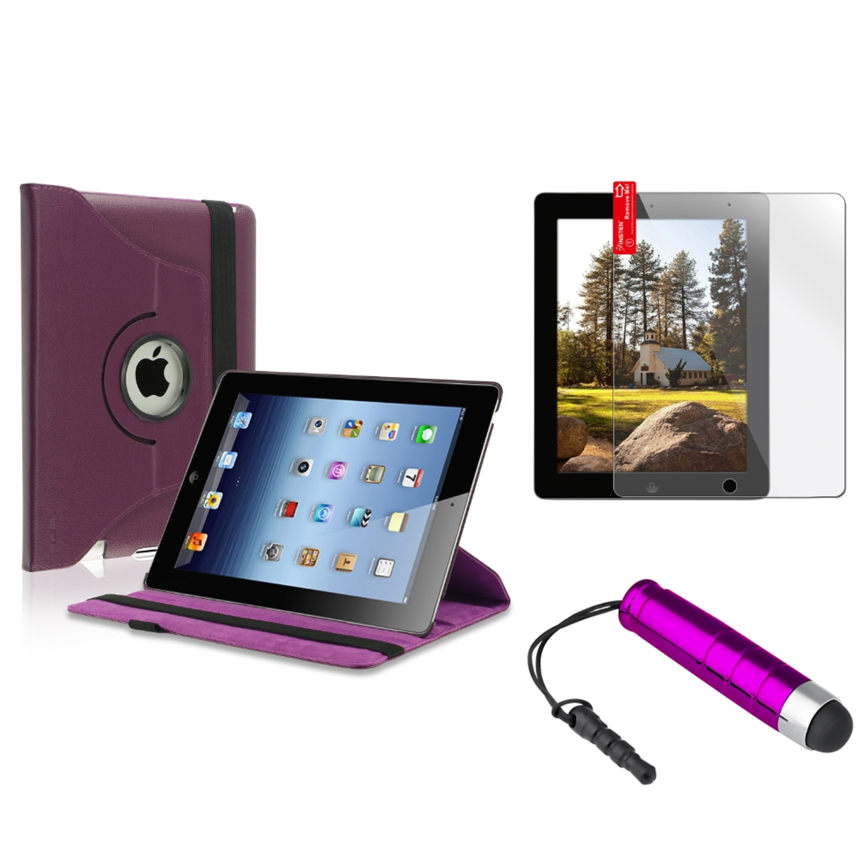 Insten Purple 360 Leather Case+2X Screen Protector+Mini Stylus for iPad 4 3 2 Retina (Supports Auto Sleep/Wake)