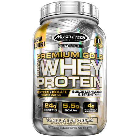 Premium Gold 100% Whey Protein Powder, Ultra Fast Absorbing Whey Peptides & Whey Protein Isolate, Vanilla Ice Cream, 30 Servings