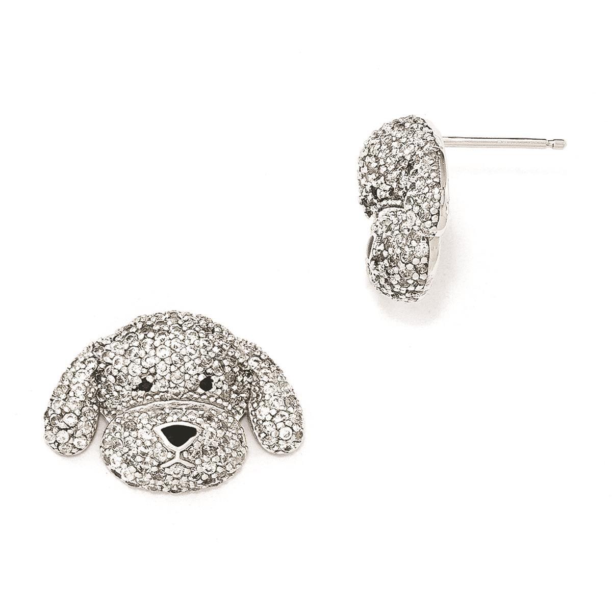Cheryl M Ladies & Kids 925 SS Enameled CZ Puppy Post Earrings 21mm x 15mm