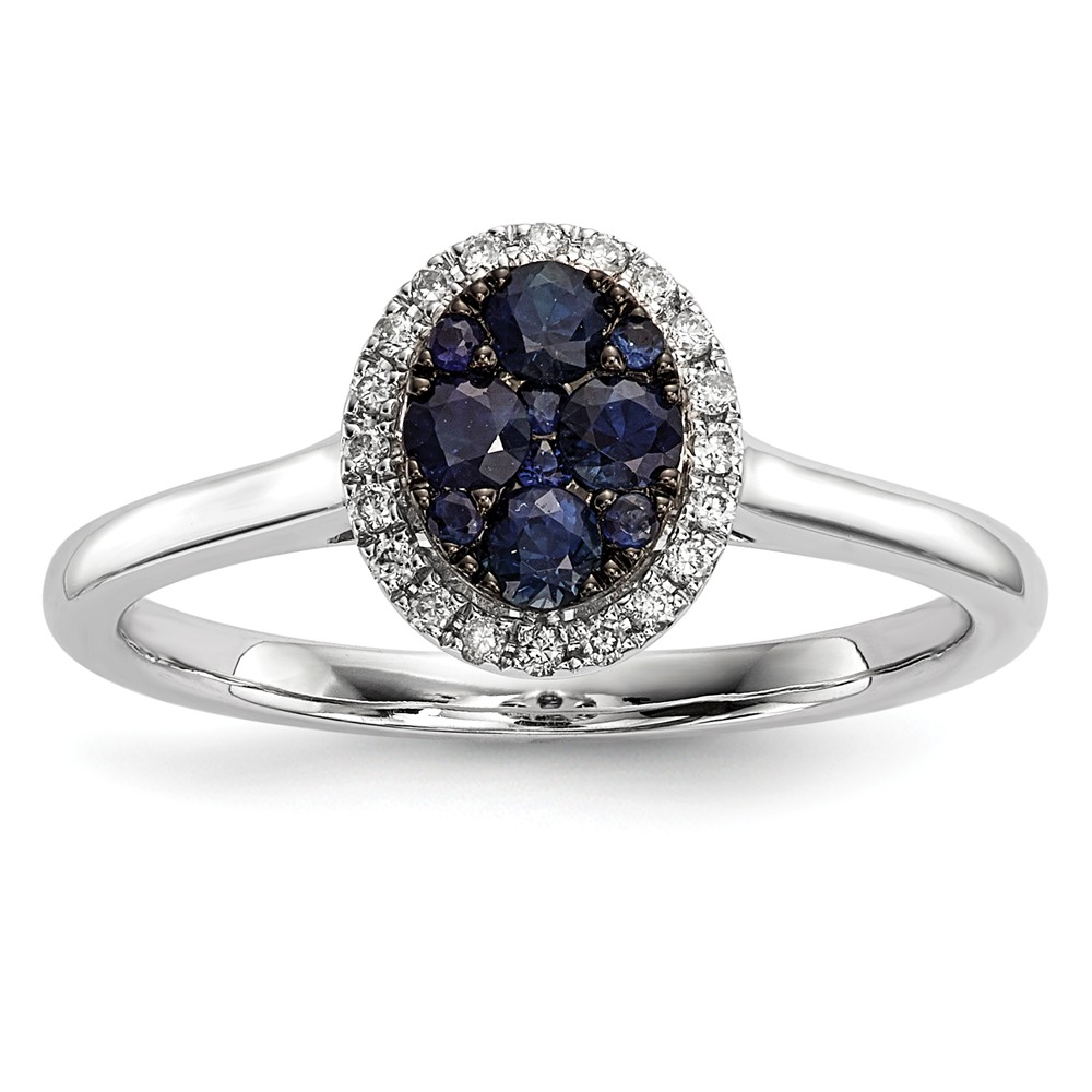 Solid 14k White Gold Diamond and Blue Simulated Sapphire Ring Size 4 by AA Jewels