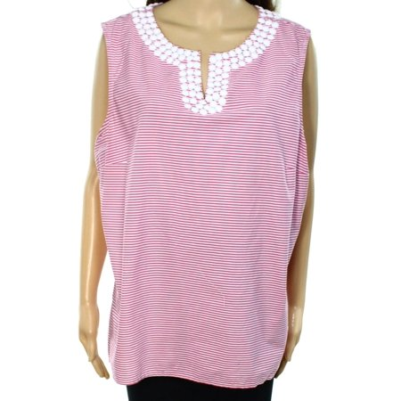 Talbots New Pink Womens Size 20 Embellished Striped Knit Top
