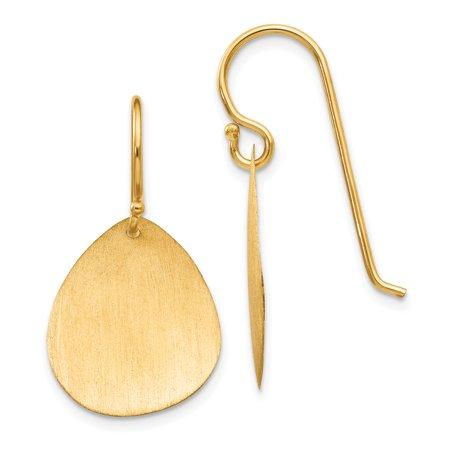 14K Satin Teardrop Disc Earrings