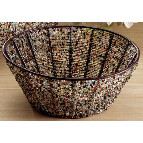 St. Croix Kindwer Round Iron Basket with Beads