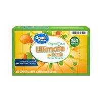 Great Value Ultimate Fresh Original Dryer Sheets, 240 count