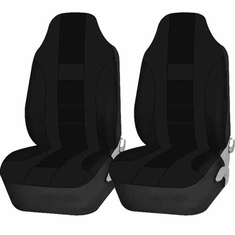 2 Piece Solid Black High back Double Stitched Front Seat cover Universal Car Truck SUV