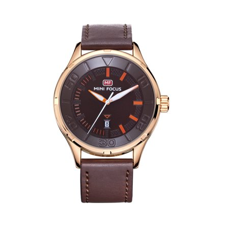 Mens Quartz Watch Brown Dial Leather Date Display Personalization Design for Friends Lovers Best Holiday Gift