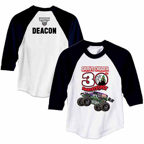 Personalized Monster Jam Grave Diggers 30th Anniversary Boys' Black Sports Jersey