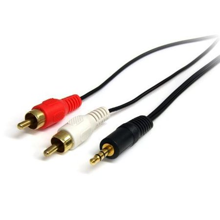 StarTech.com 3 ft Stereo Audio Cable - 3.5mm Male to 2x RCA Male - Mini-phone Male Stereo Audio - RCA Male Stereo Audio - 3ft - Black