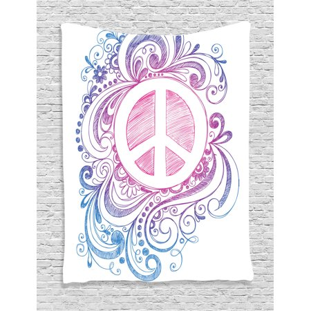 Groovy Decorations Wall Hanging Tapestry, Classic Hand Drawn Style Peace Sign And Swirls Freedom Change Hope Roll Icon, Bedroom Living Room Dorm Accessories, By (Peace Sign Tapestries)