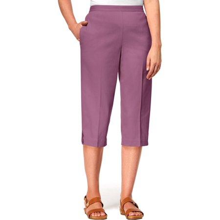 Alfred Dunner Capri Pants - Alfred Dunner Womens Petites Casual Flat Front Capri Pants Purple 8P