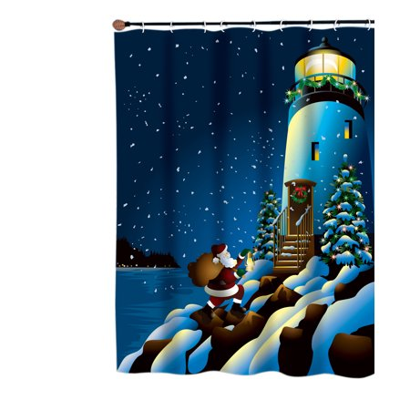 Holiday Lighthouse Fabric Shower Curtain
