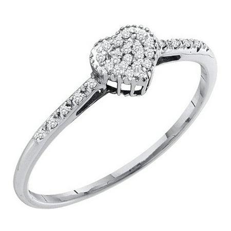 Dazzlingrock Collection 0.20 Carat (ctw) 10K Round Diamond Heart Fashion Bridal Promise Ring 1/5 CT, White Gold, Size -