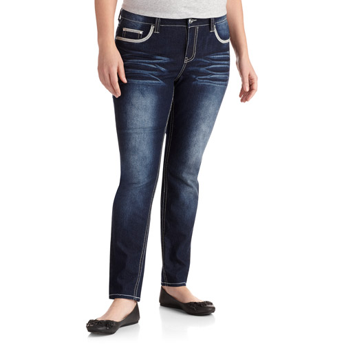 Red Rivet Women's Plus-Size Embellished Skinny Jeans With Flap Back Pockets