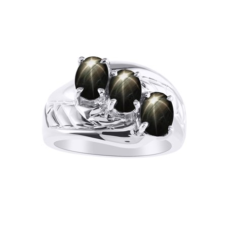 3 Stone  Oval Shape Black Star Sapphire Ring Set In 14K White Gold - Color Stone Birthstone Ring LR7043BSW-D