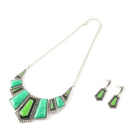 Ladies Metal Geometric Pendant Bib Statement Choker Necklace Earrings Green Set