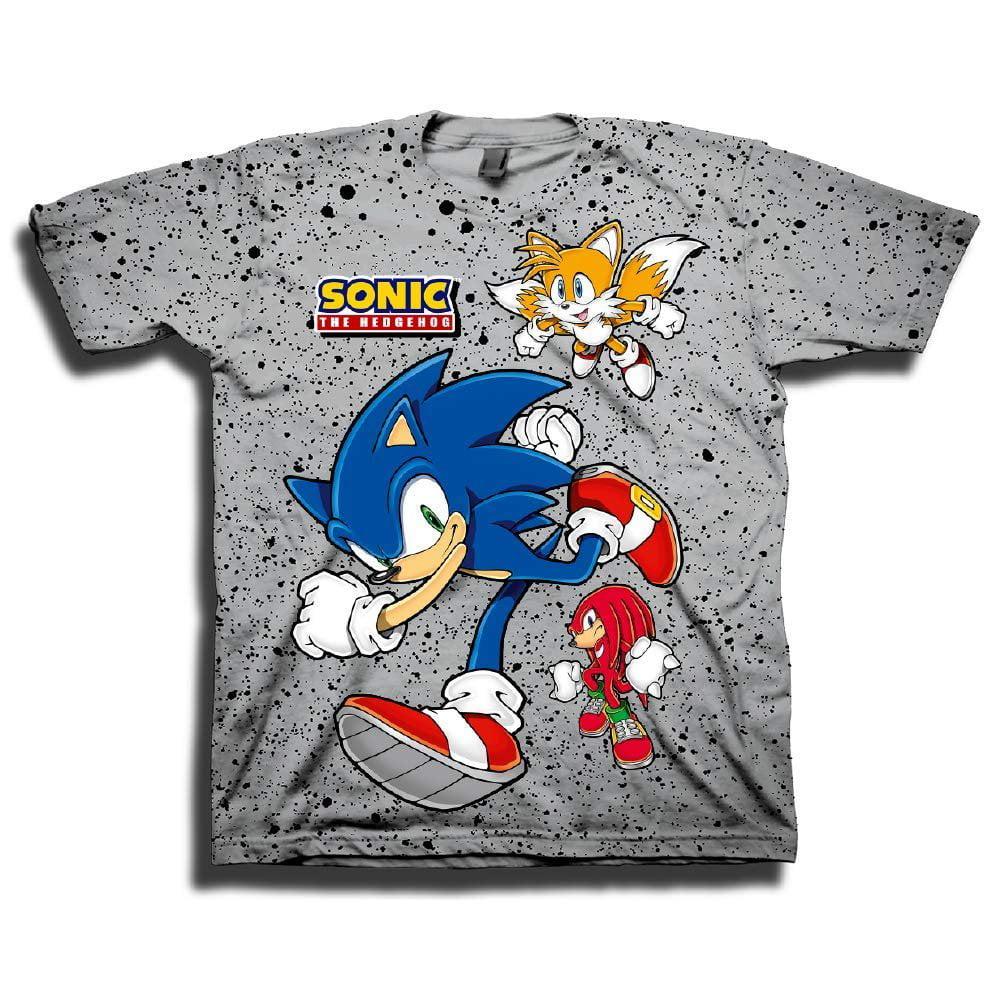 Sega Boys Sonic The Hedgehog Shirt Featuring Sonic Tails And Knuckles The Hedgehog Trio Official T Shirt Grey X Small Walmart Com Walmart Com