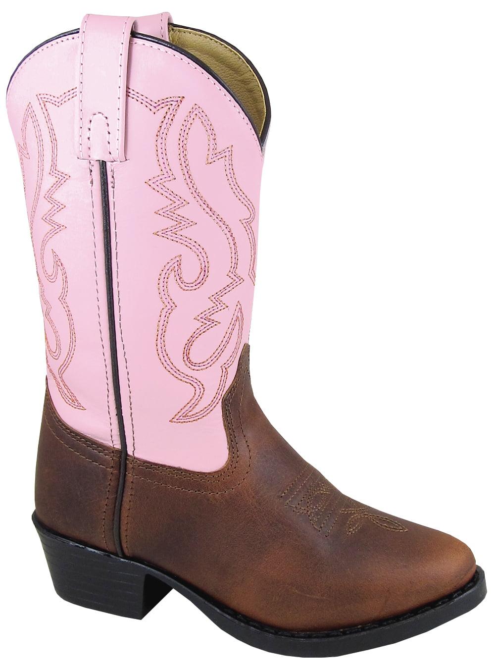 Kid's Denver Brown Pink Leather Cowboy