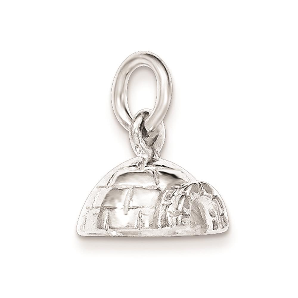 925 Sterling Silver Polished Igloo 3-D Open-bottom Charm Pendant