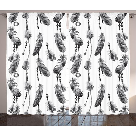 Artworks Home Pattern - Tribal Curtains 2 Panels Set, Bohemian Feathers and Beads on Thread Graphic Pattern Native American Artwork, Window Drapes for Living Room Bedroom, 108W X 63L Inches, Black and White, by Ambesonne