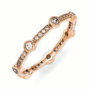 Sterling Silver Rose Gold Plated & CZ Ring