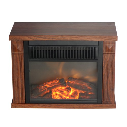 Comfort Glow Bookshelf Mini Fireplace, Wood Grain