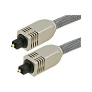 Monoprice Premium S/PDIF (Toslink) Digital Optical Audio Cable - Silver - 6 Feet | Heavy Duty Mesh Jacket, Metal Connector Heads, For Play Station, Xbox one, Home theater & More