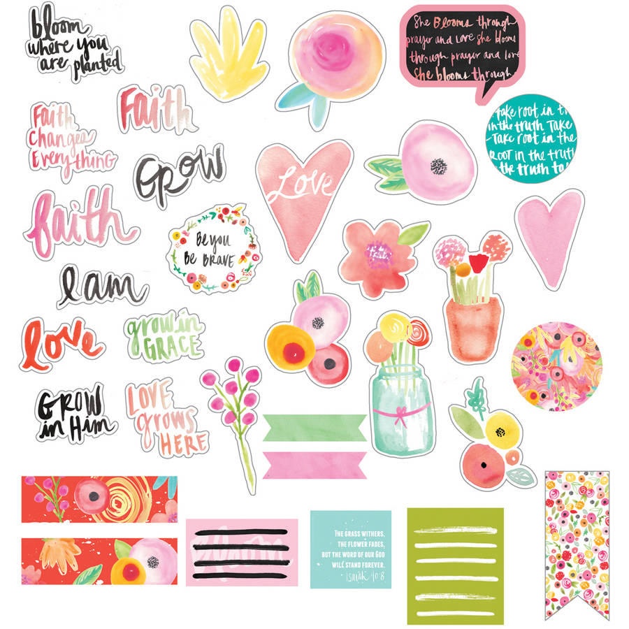 Illustrated Faith She Blooms Chipboard Icons-