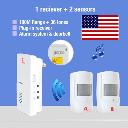 1byone Wireless Home Security Driveway Alarm and Doorbell, 1 Plug-in Receiver and 2 PIR Motion Sensor Detector Weatherproof Patrol Infrared Alert System Kit