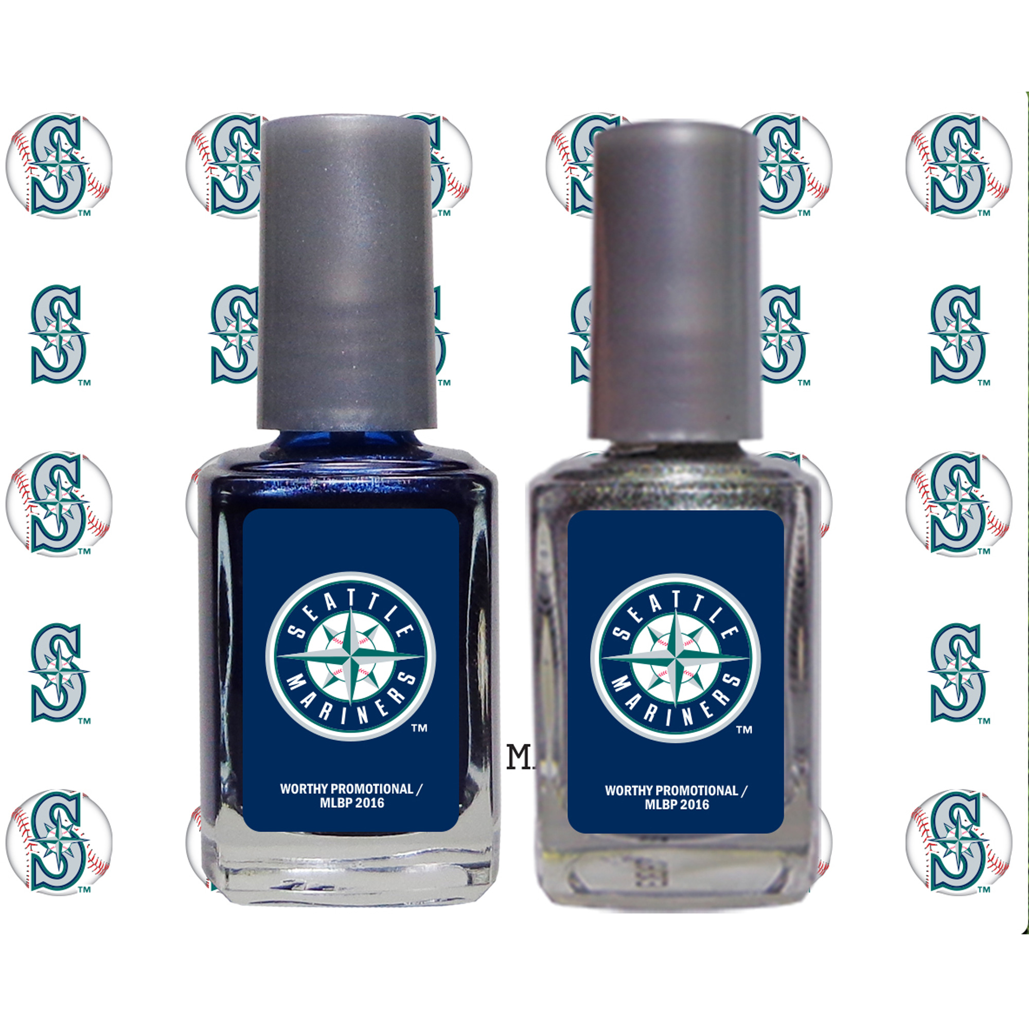 Seattle Mariners 2-Pack Nail Polish and Decal Set - No Size