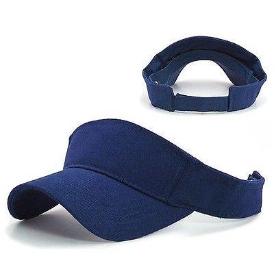 Navy Blue Golf Tennis Sports Brushed Cotton Visor Visors Sun Cap Caps Hat Hats