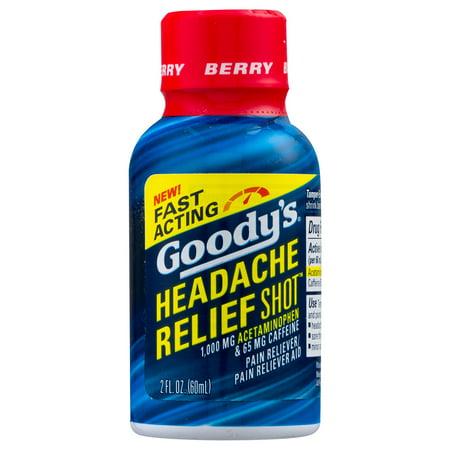 Goody's Headache Relief Shot, Acetaminophen & Caffeine, Berry, 2 FL (Headache Acetaminophen)