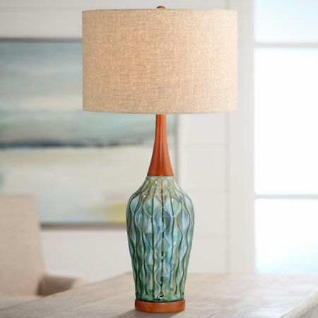 Teal Glazed - 360 Lighting Mid Century Modern Table Lamp Ceramic Blue Teal Glaze Wood Handmade Linen Drum Shade for Living Room Family Bedroom
