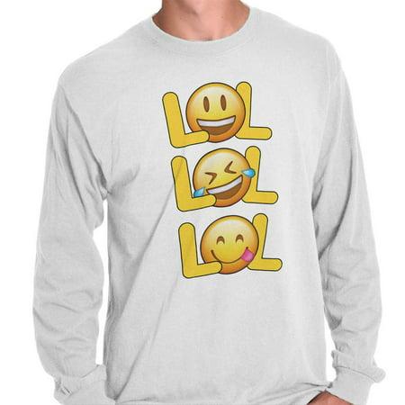 379bac6f Brisco Brands - LOL Laughing Crying Emojis Funny Graphic Long Sleeve T Shirt  - Walmart.com