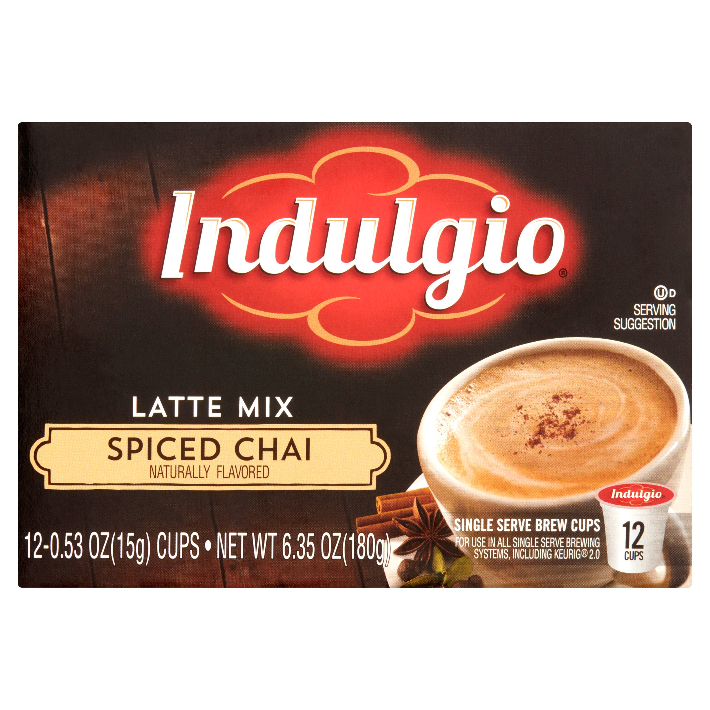 Indulgio Spiced Chai Latte Mix Single Serve Brew Cups, 0.53 oz, 12 count