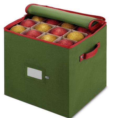 Holiday Decoration Stores (Christmas Ornament Storage Box With Lid - Keeps Safe Up To 64 Holiday Ornaments & Xmas Decorations Accessories, Durable Non-Woven Ornament Storage Container, 3