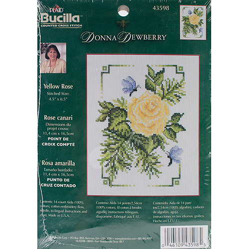 "Bucilla Donna Dewberry Yellow Rose Mini Counted Cross Stitch Kit, 4-1/2"" x 6-1/2"", 14 Count"
