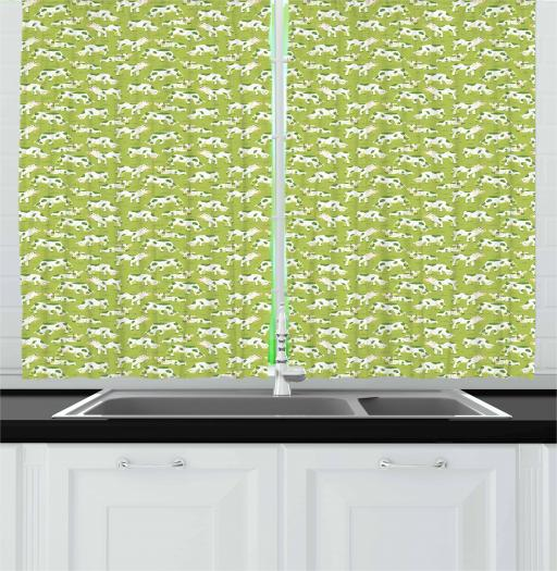 Cattle Curtains 2 Panels Set, Children Style Cartoon of Bovines as Repeating Pattern on Green Meadow, Window Drapes for Living Room Bedroom, 55W X 39L Inches, Apple Green Pale Orange, by Ambesonne