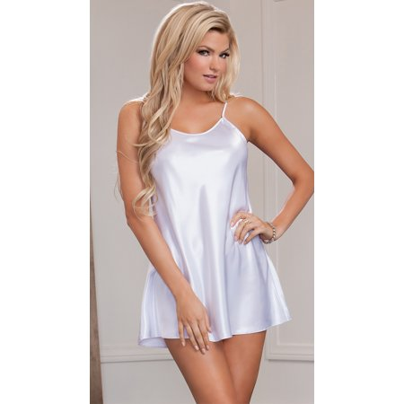 5072b971912a iCollection - Show Off Satin Chemise, Womens Chemise Lingerie - Walmart.com
