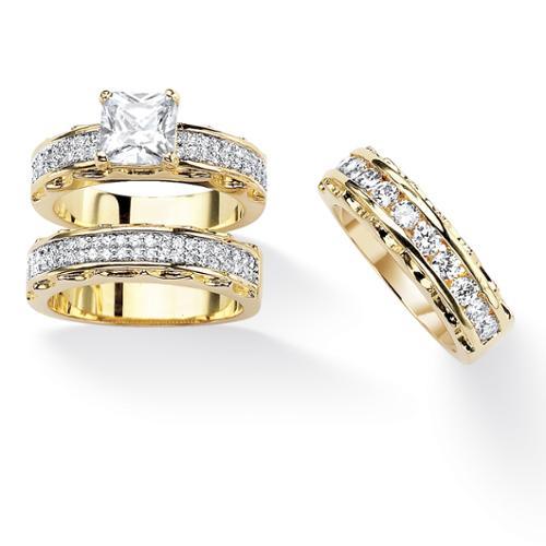 PalmBeach 3.10 TCW Princess-Cut Cubic Zirconia 14k Gold-Plated Wedding Ring Set Classic CZ Size 9