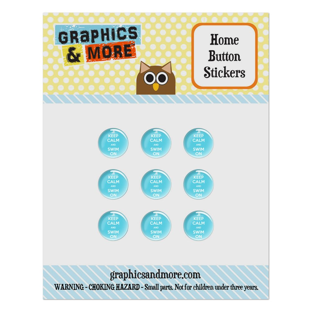 Keep Calm And Swim On Home Button Stickers Set Fit Apple iPhone iPad iPod Touch