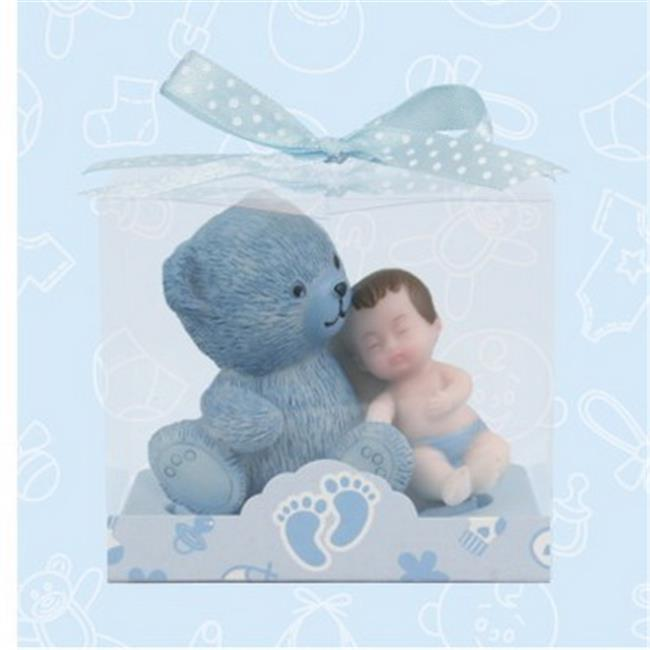 De Yi 21016W-BL Baby Shower Baby and Teddy Bear Favors in Blue