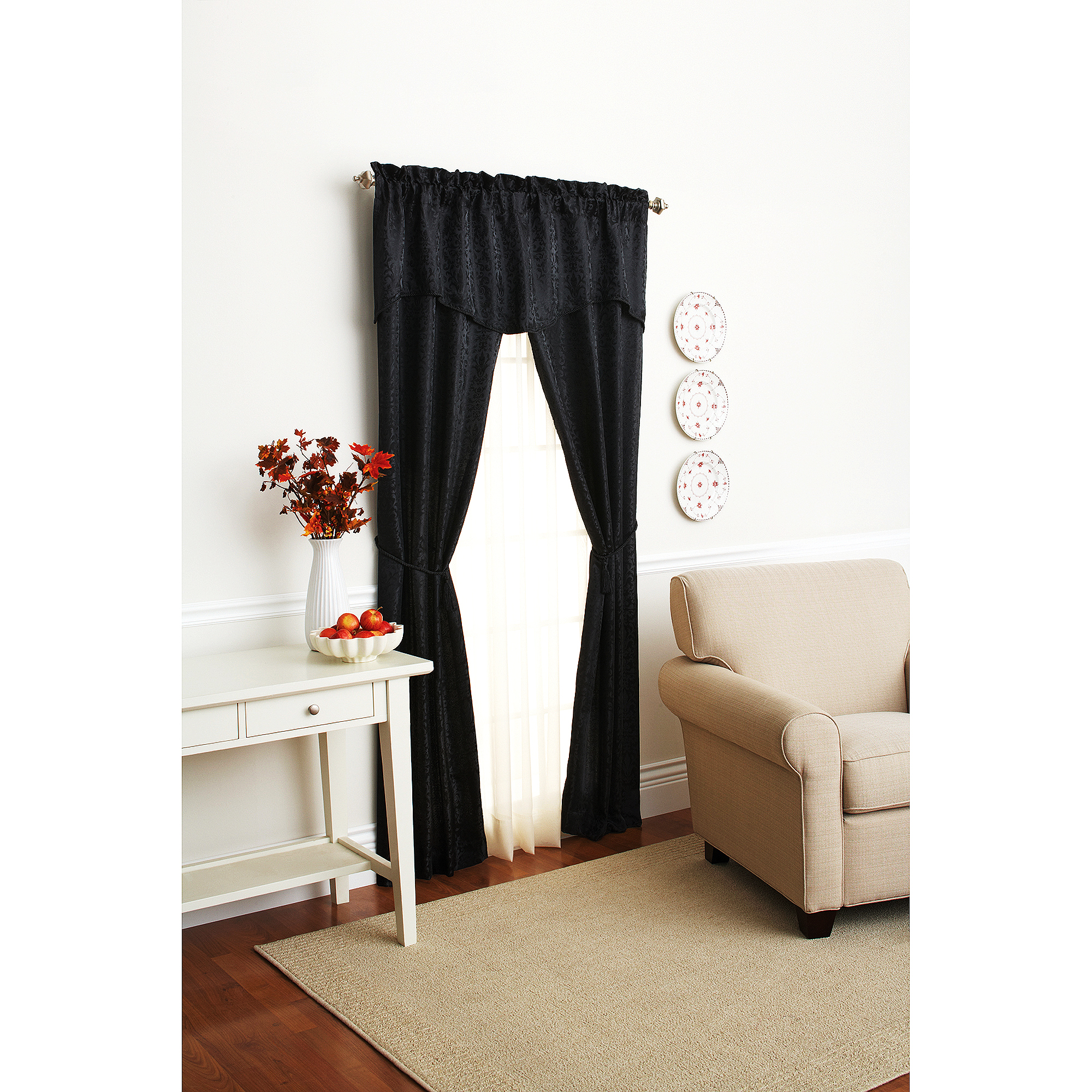 "Mainstays 84"" Damask Scroll Window Set, Black Soot"