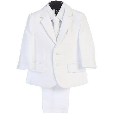 Lito Boys White Jacket Tie Pocket Square Shirt Pant 5 Pc Suit