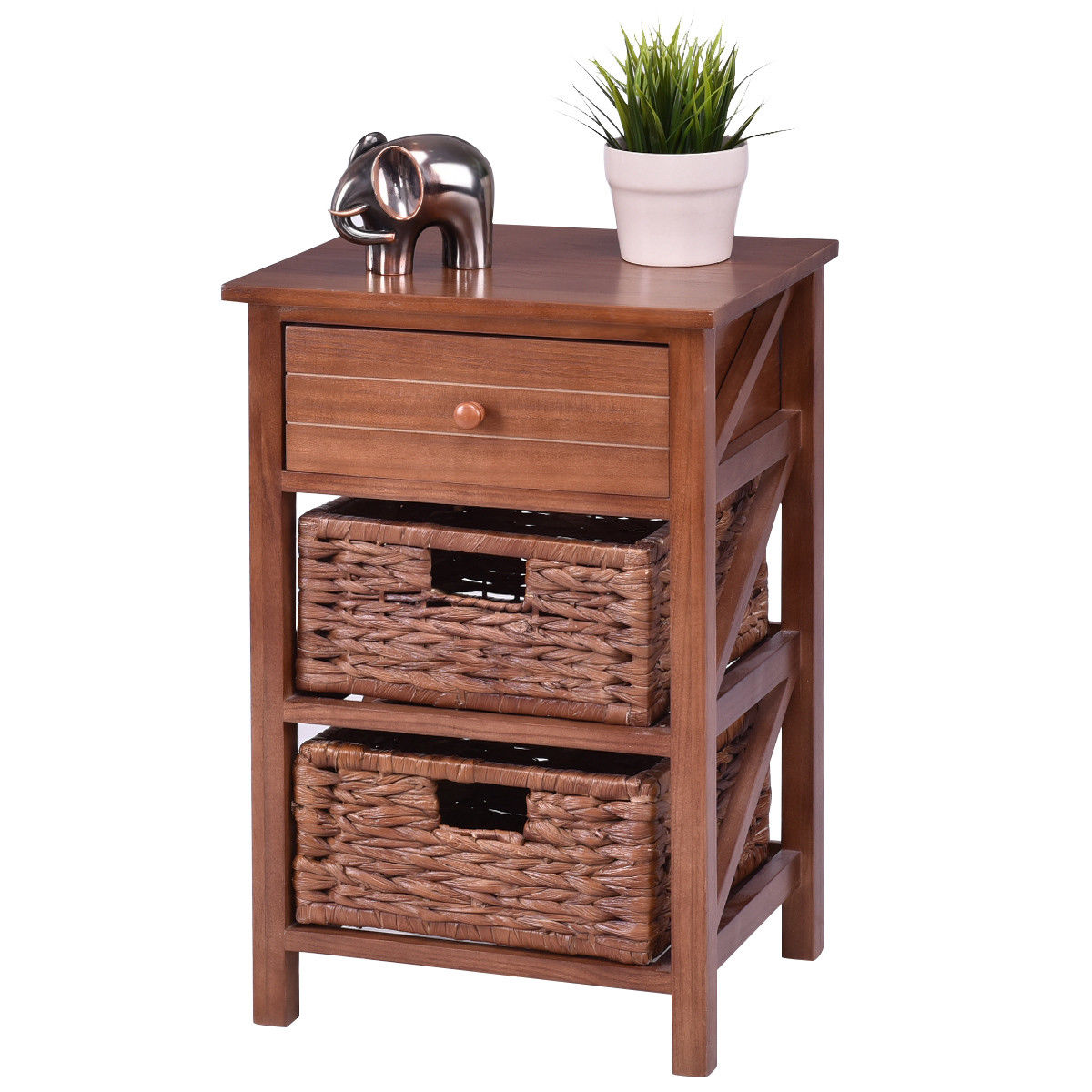 Costway 3 Tiers Wood Nightstand 1 Drawer 2 Basket Bedside Table End Table Organizer