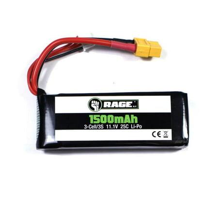 Rage RC RGRA1265 Defender 1100 3S 11.1V 1500 mAh 25 C Lipo Battery